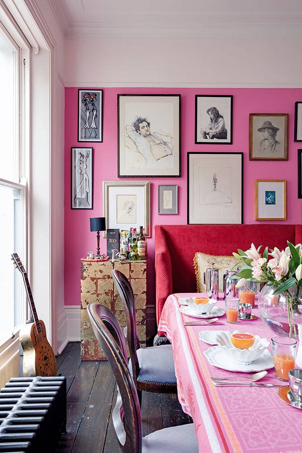 vibrant dining room in a colourful victorian dining room