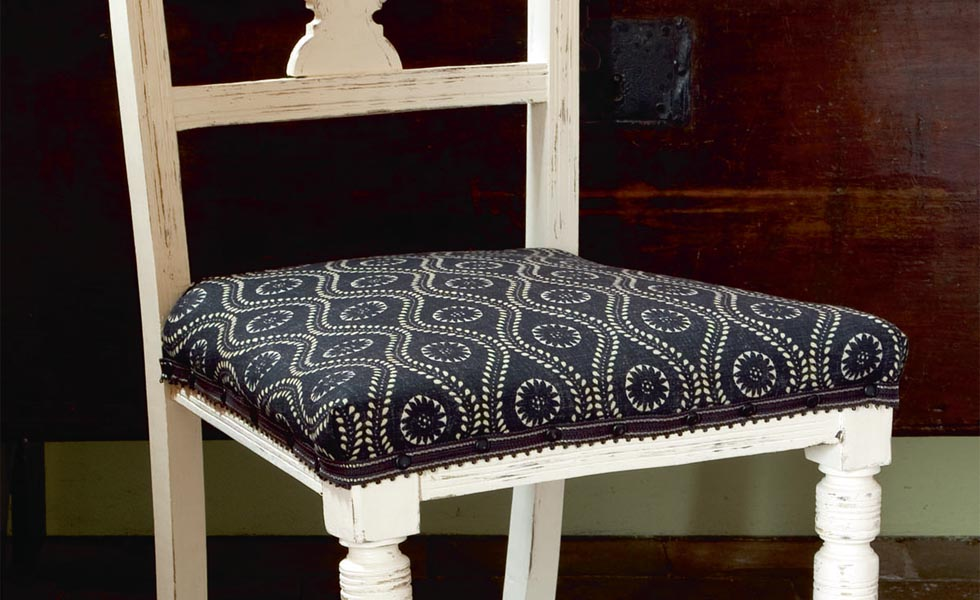 Upcycled painted and reupholstered dining chair