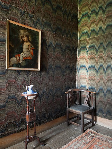 The corner of the Fettiplace Closet at Chastleton House, Oxfordshire