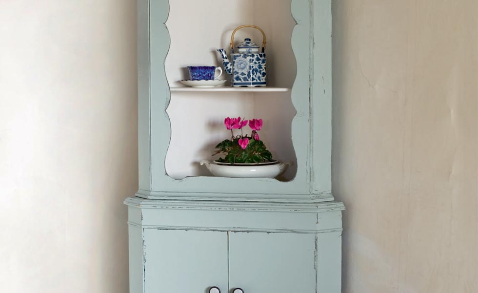 Vintage corner cupboard upcycled with paint