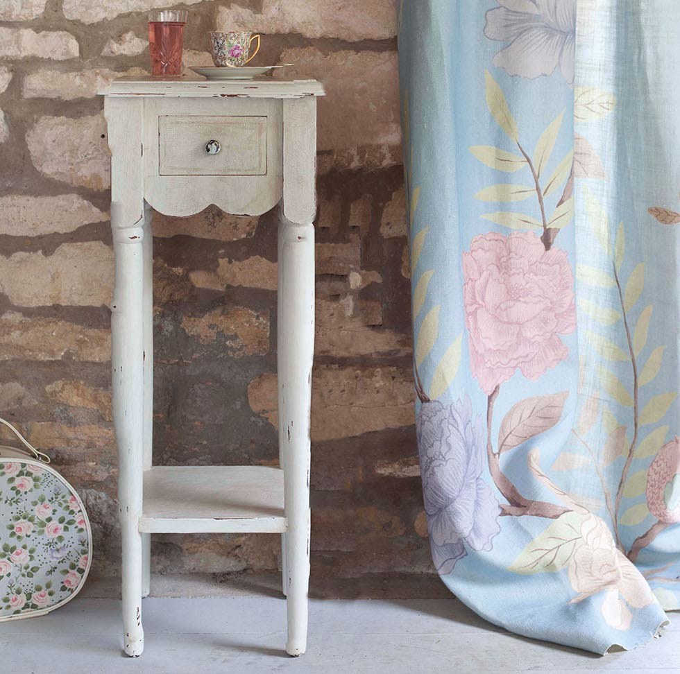 Upcycled side table with vintage cracked paint effect