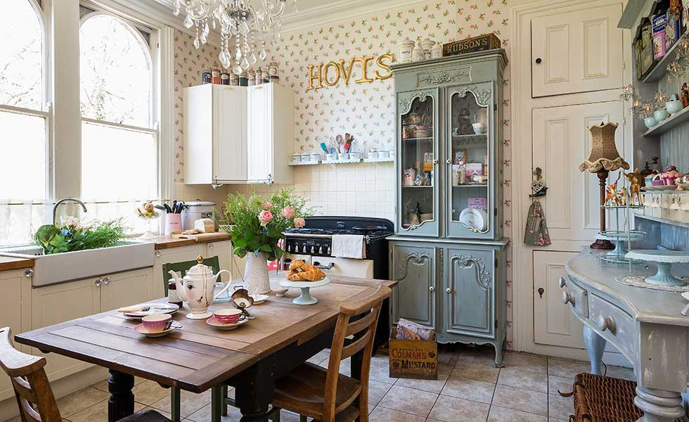 tea cups and cake stands kitchen