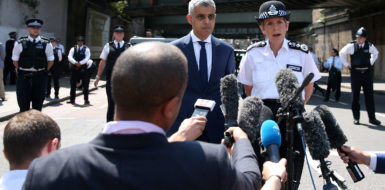 Mayor of London Sadiq Khan, (C) and Metropolitan Police Commissioner Cressida Dick give a statement to the media near the scene of an attack in the Finsbury Park area of north London following a vehicle attack on pedestrians, on June 19, 2017. Ten people were injured when a van drove into a crowd of Muslim worshippers near a mosque in London in the early hours of Monday, and a man who had been taken ill before the attack died at the scene.