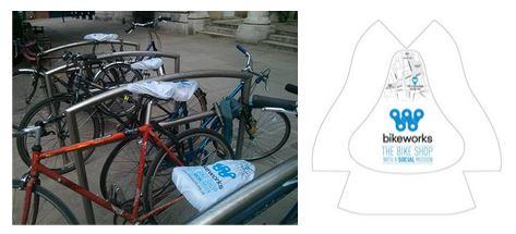 Bikeworks seat covers designed by marketing volunteers
