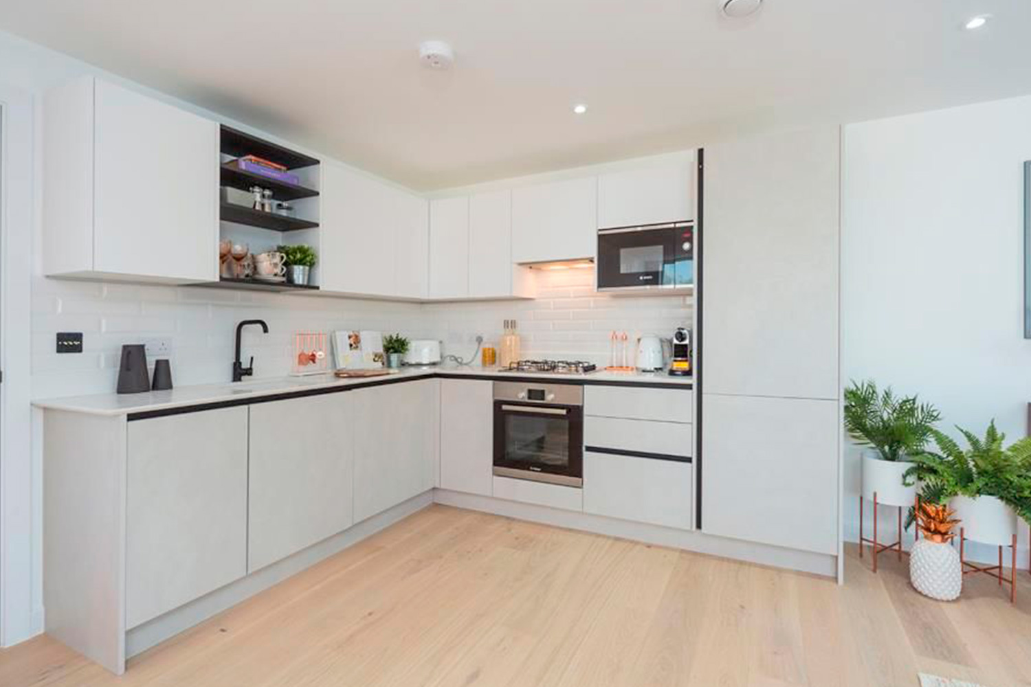 Full equipped white kitchen