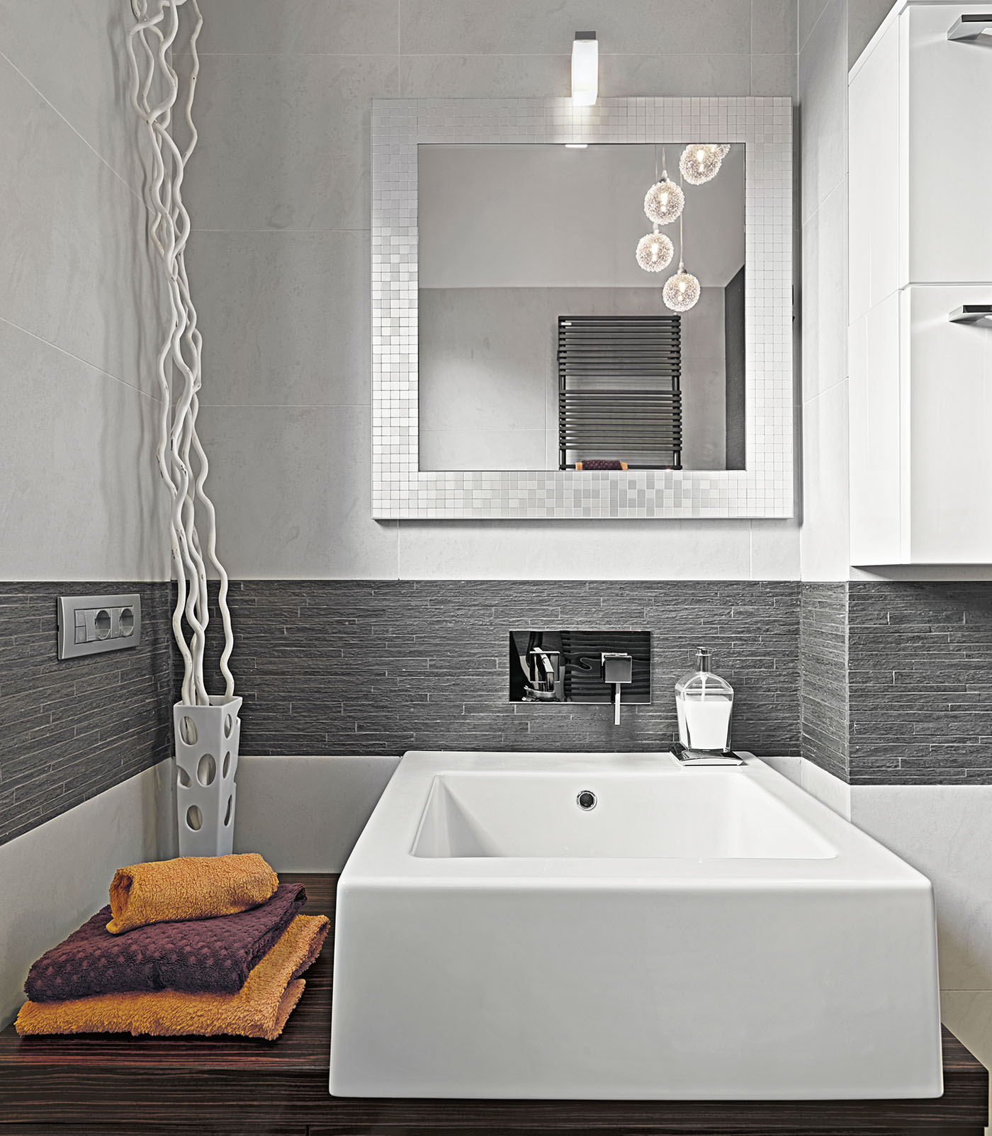 modern bathrom  interior in the foreground the countertop washbasin