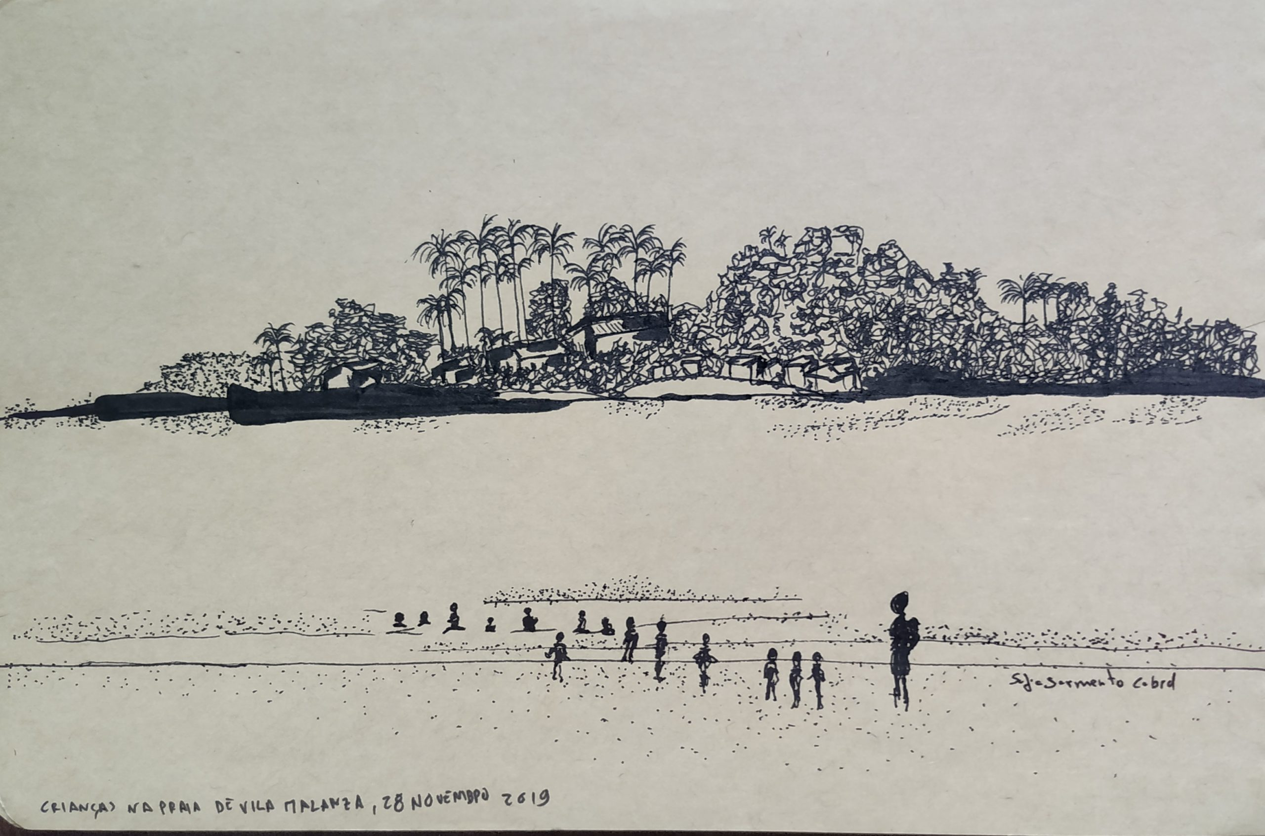 Fui só (tentar) desenhar na praia.