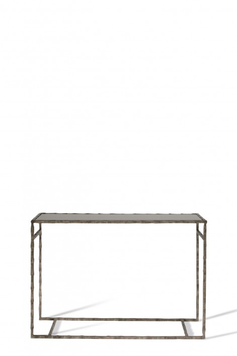 Small Giacometti Console Table | Burnt Silver with Black Glass top