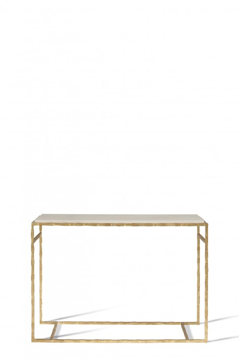 Small Giacometti Console Table | Versailles Gold with Faux Limestone top