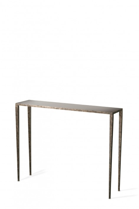 Salvatore Console Table | Burnt Silver with Black Glass top