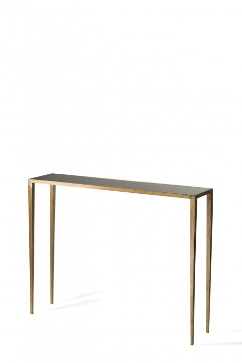 Small Salvatore Console Table | French Brass with Black Glass top