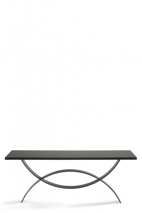 Large Fishtail Console Table | Bronzed with Black Lacquer top