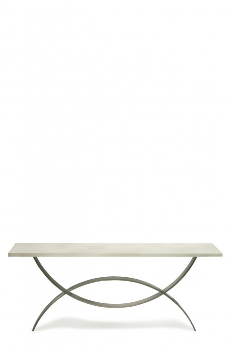 Large Fishtail Console Table | Bronzed with Faux Limestone top