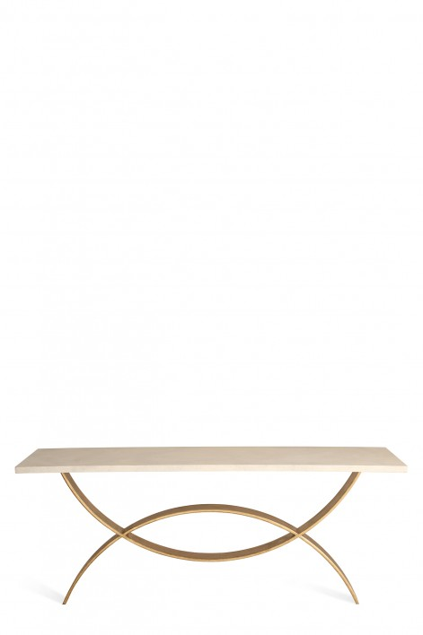 Large Fishtail Console Table | Pale gold with Faux Limestone top
