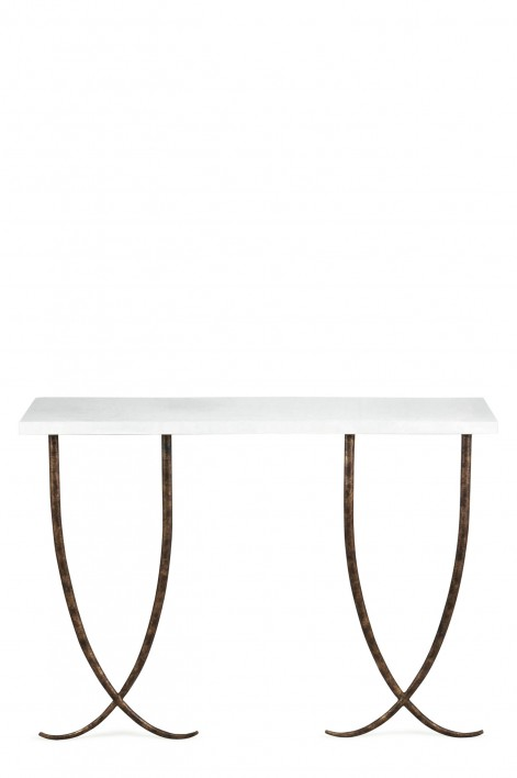 Large Ephrussie Console Table | Burnt Silver with Faux Limestone top