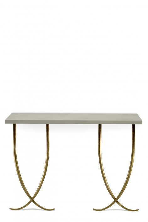 Large Ephrussie Console Table | French Brass with Faux Limestone top