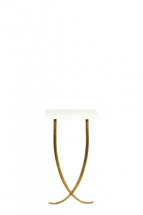 Small Ephrussie Console Table | French Brass with Faux Limestone top