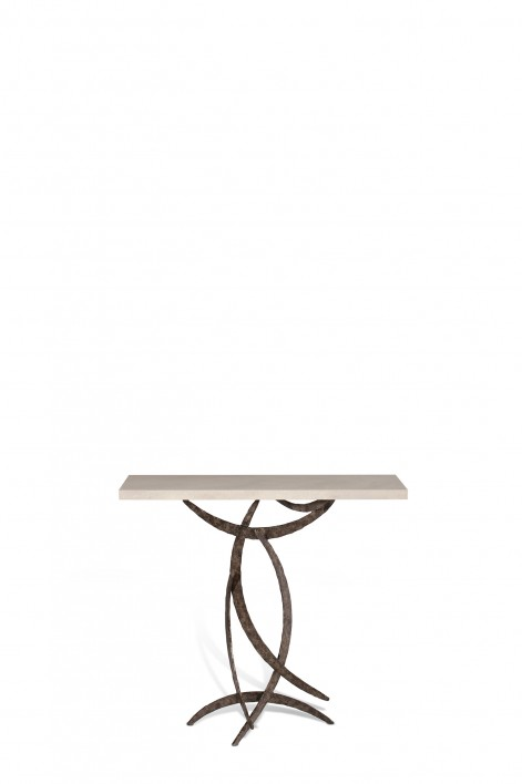Miro Console Table | Burnt Silver with Faux Limestone top
