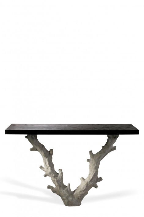 Twig Console Table | Aged Plaster with Dark Fumed Oak top