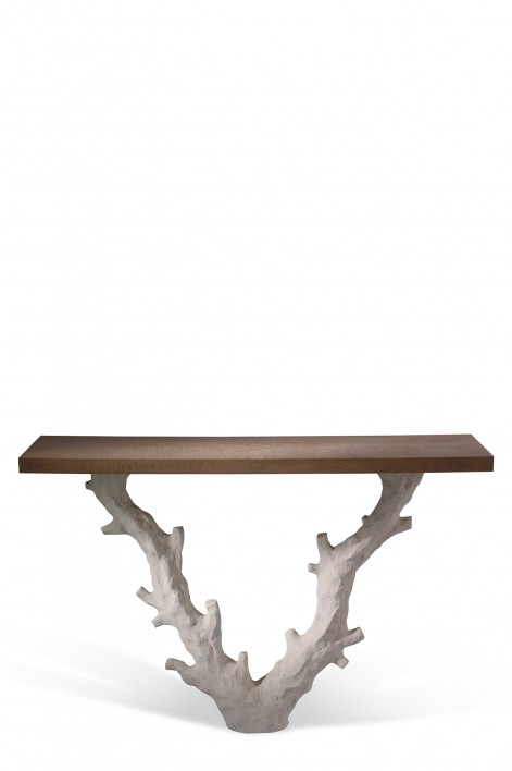 Twig Console Table | Aged Plaster with Pippy Oak top
