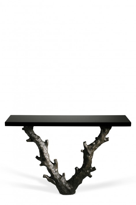 Twig Console Table | Bronzed with Black Lacquer top