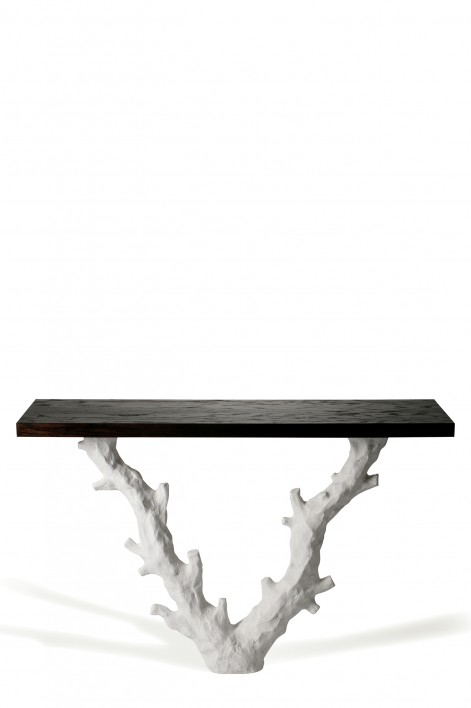 Twig Console Table | Plaster White with Dark Fumed Oak top