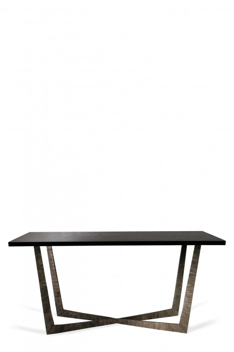 Tapering X Console Table | Brushed Silver with Dark Fumed Oak top