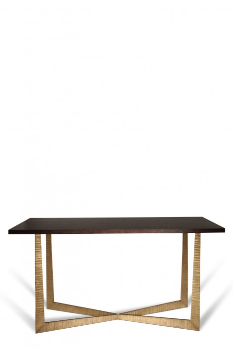Tapering X Console Table | French Brass with Dark Fumed Oak top