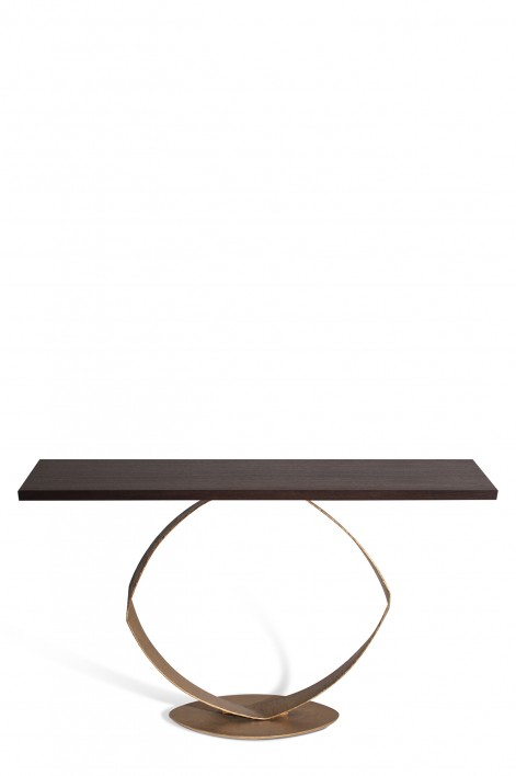 O Console Table | French Brass with Dark Fumed Oak top