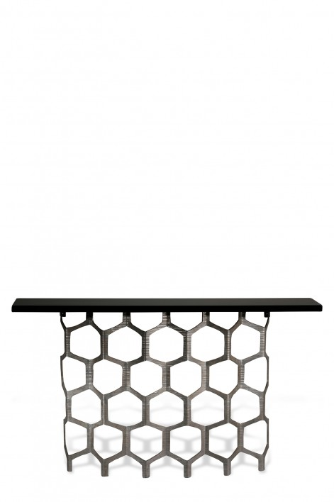 Honeycomb Console Table | Decayed Silver with Black Lacquer top