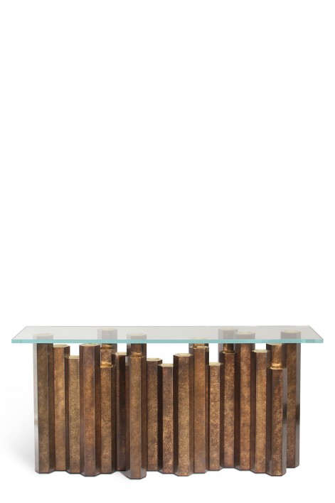 Hive Console Table | Patinated Brass with Clear Glass top