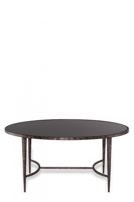 Large Salvatore Oval Coffee Table | Burnt Silver with Black Glass top