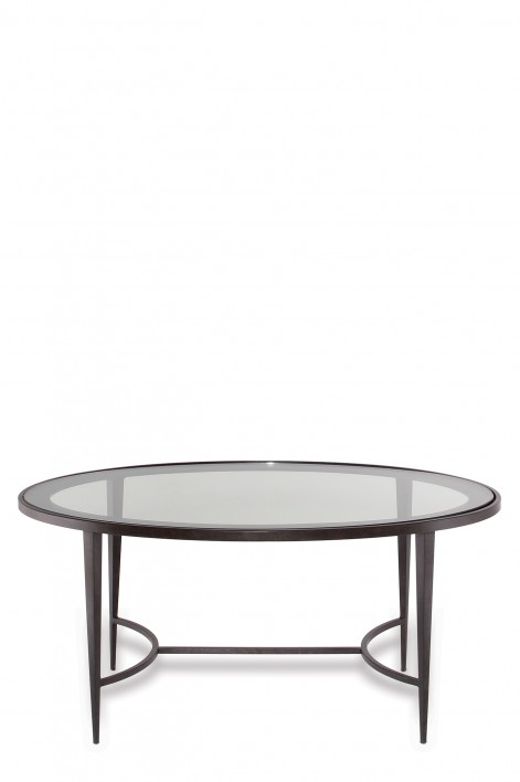 Large Salvatore Oval Coffee Table | Bronzed with Clear Glass top