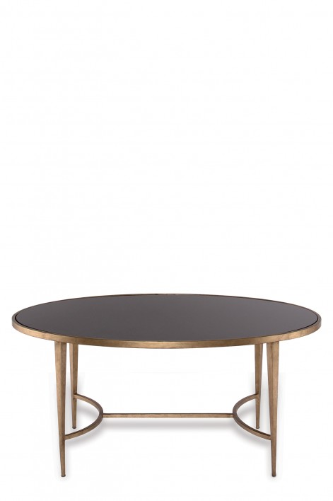 Large Salvatore Oval Coffee Table | French Brass with Black Glass top