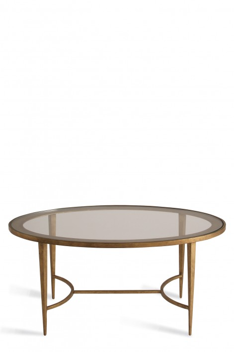 Large Salvatore Oval Coffee Table | French Brass with Clear Glass top