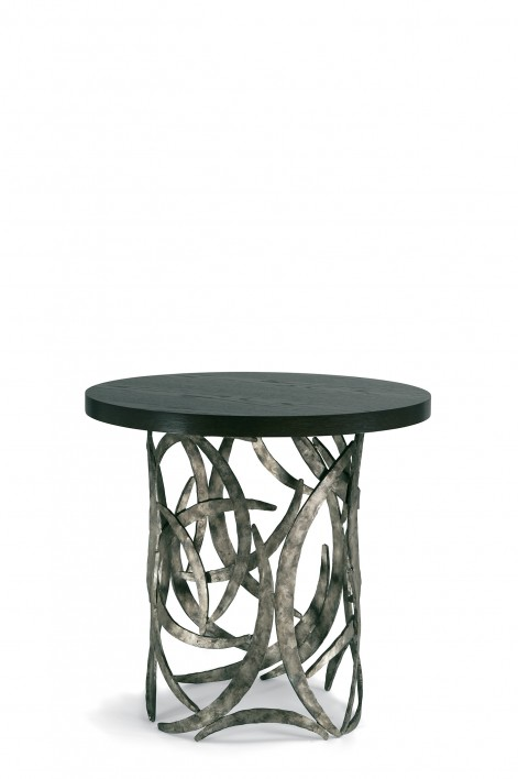 Miro Drum Table | Burnt Silver with Dark Fumed Oak top