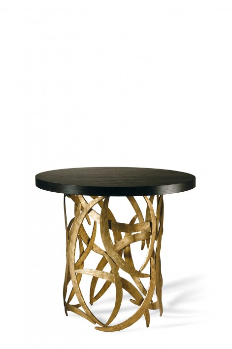 Miro Drum Table | French Brass with Dark Fumed Oak top