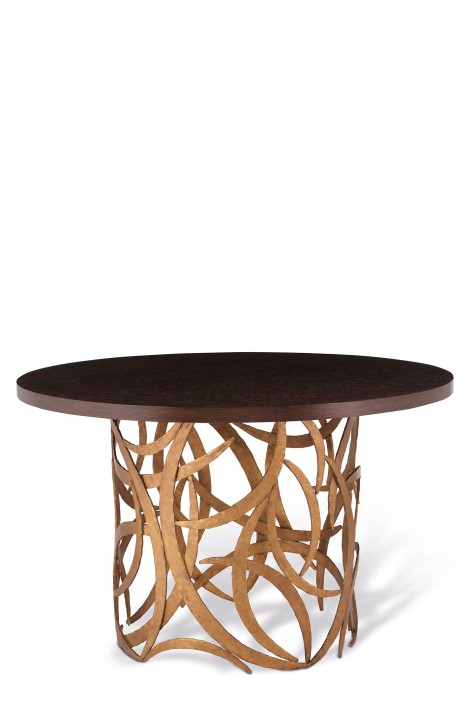 Large Miro Centre Table | French Brass with Dark Fumed Oak top