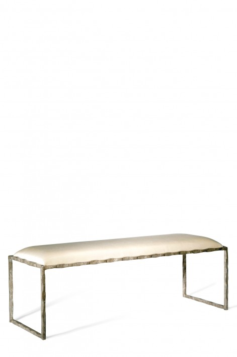 Giacometti Bed End Bench | Burnt Silver with silk covered seat pad
