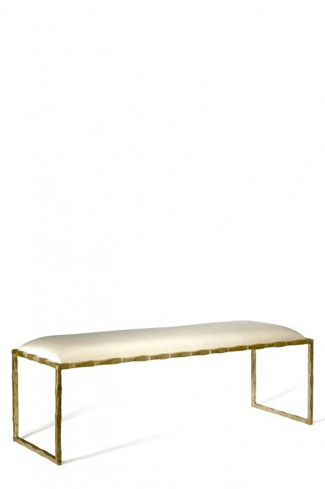 Giacometti Bed End Bench | Versailles Gold with silk covered seat pad