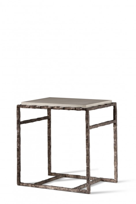 Giacometti Side Table | Burnt Silver with Faux Limestone top