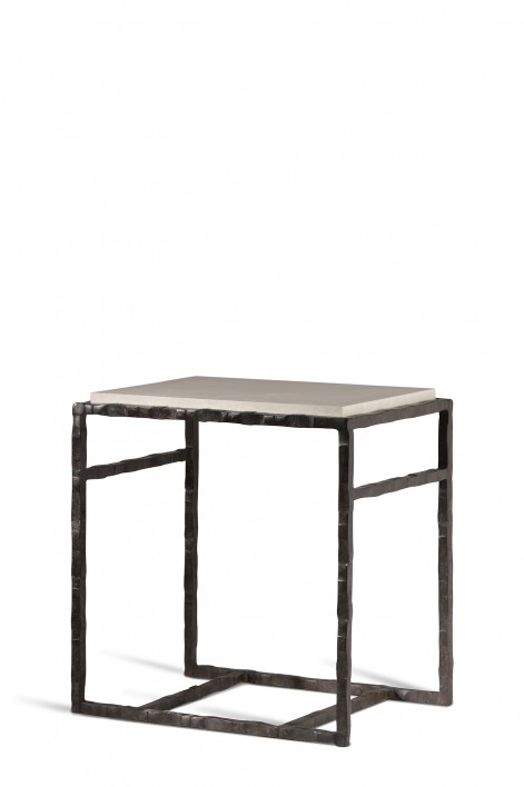 Giacometti Side Table | Bronzed with Faux Limestone top