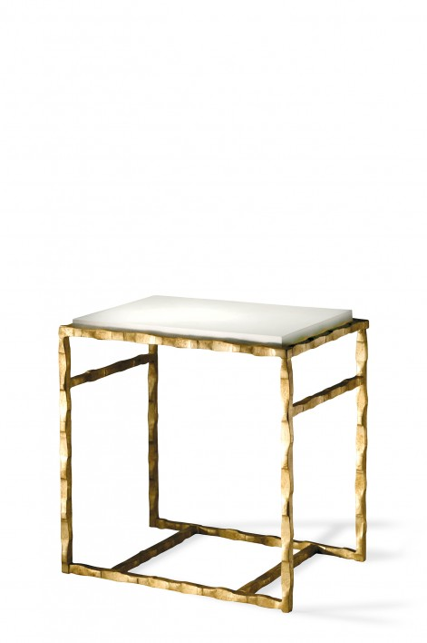 Giacometti Side Table | Versailles Gold with Faux Limestone top