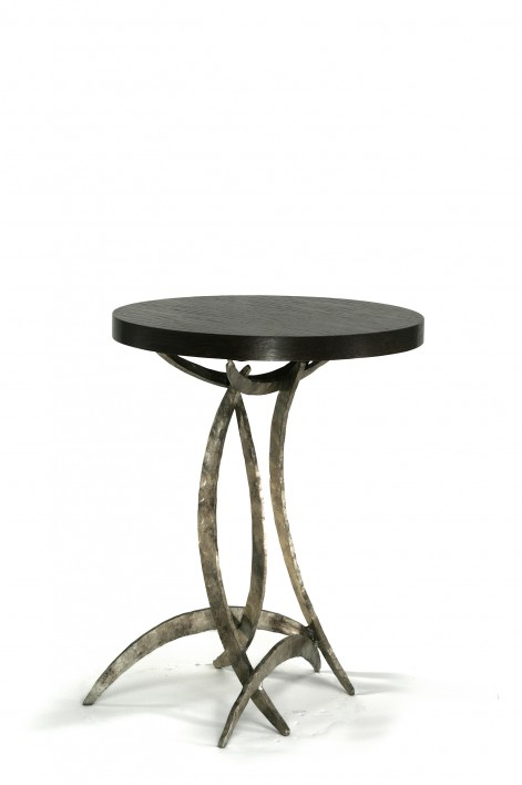 Large Miro Side Table | Burnt Silver with Dark Fumed Oak top