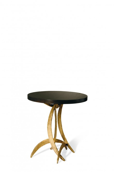 Small Miro Side Table | French Brass with Dark Fumed Oak top