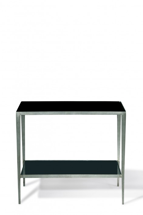 Salvatore Side Table | Burnished Silver with Black Glass top