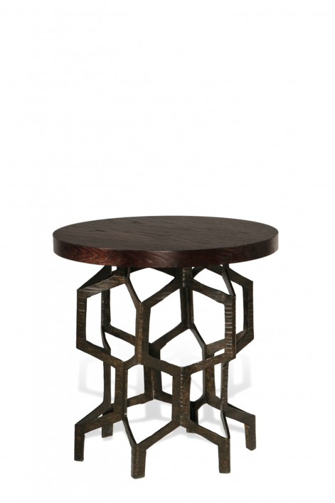 Honeycomb Side Table | Bronzed with Dark Fumed Oak top