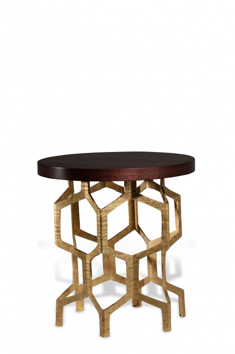 Honeycomb Side Table | Decayed Gold with Dark Fumed Oak top