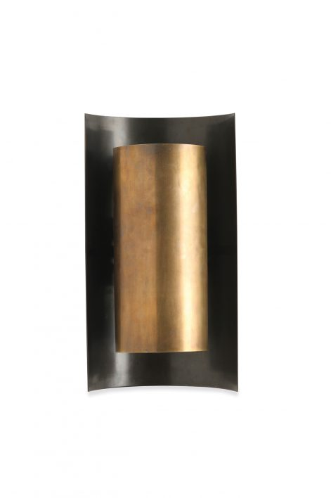 Large Covex Wall Light | Antiqued Brass and Bronze