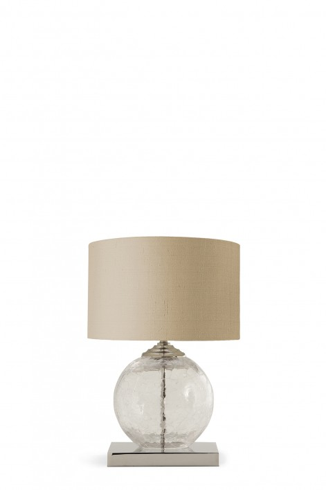 Small Pasteur Lamp | Clear Crackled Glass with Nickel base